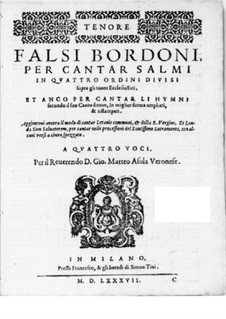 Falsi Bordoni for the Psalms: Tenor part by Giammateo Asola
