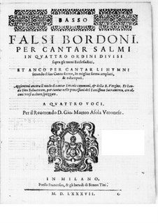 Falsi Bordoni for the Psalms: Bass part by Giammateo Asola