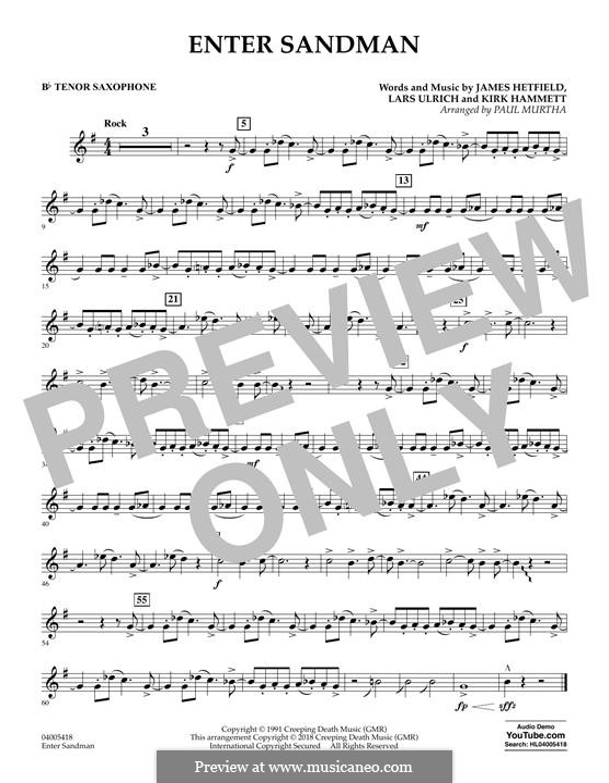 Concert Band version: Bb Tenor Saxophone part by James Hetfield, Kirk Hammett, Lars Ulrich