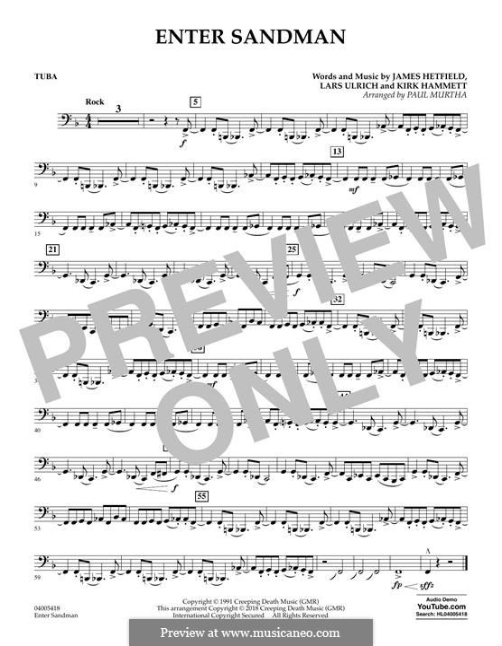 Concert Band version: Tuba part by James Hetfield, Kirk Hammett, Lars Ulrich
