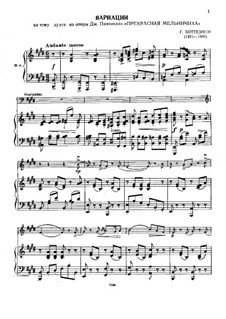 Variations on Duet from 'The Beautiful Miller Maid' by Paisiello for Double Bass and Piano: Variations on Duet from 'The Beautiful Miller Maid' by Paisiello for Double Bass and Piano by Giovanni Bottesini