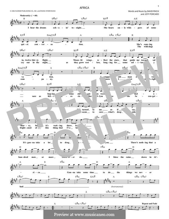 Africa (Toto): Melody line by David Paich, Jeff Porcaro