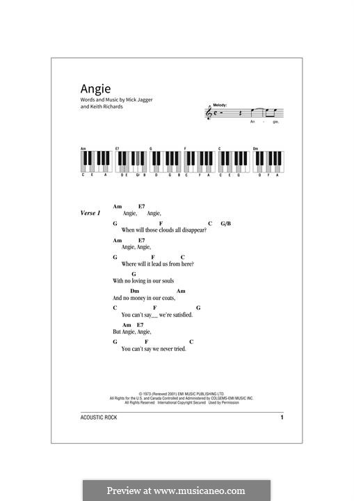 Angie (The Rolling Stones): Lyrics and chords by Keith Richards, Mick Jagger