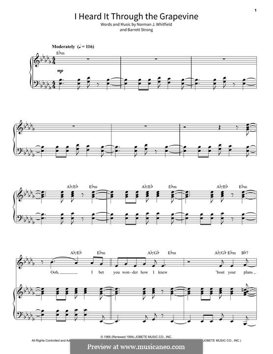I Heard it Through the Grapevine: For voice and piano by Barrett Strong, Norman J. Whitfield