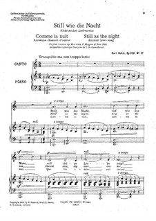 Songs, Op.326: No.27 Still as the Night (C Major) by Carl Böhm