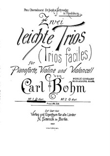 Two Easy Trios for Violin, Cello and Piano, Op.330: Trio No.1 by Carl Böhm