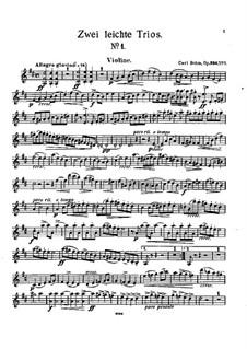 Two Easy Trios for Violin, Cello and Piano, Op.330: Trio No.1 – Violin Part by Carl Böhm