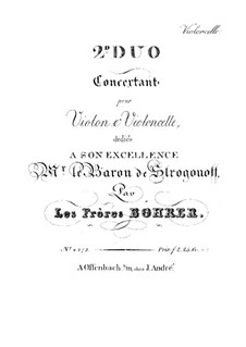 Two Concert Duos for Violin and Cello: Duo No.2 – cello part by Antoine Bohrer