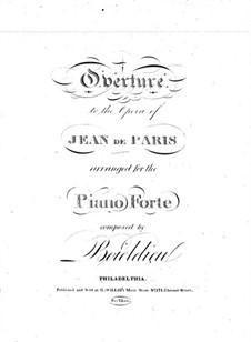 Jean de Paris: Overture, for piano by Adrien Boieldieu