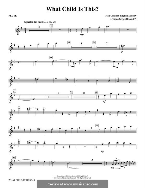 What Child is This (Christmas Carol): Flute part by folklore
