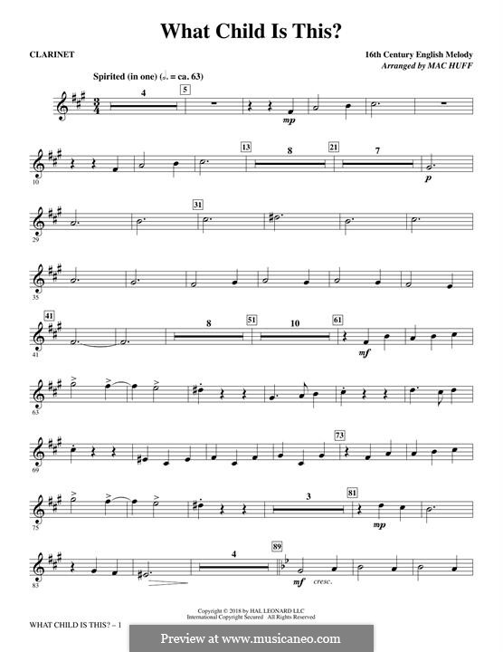What Child is This (Christmas Carol): Clarinet part by folklore
