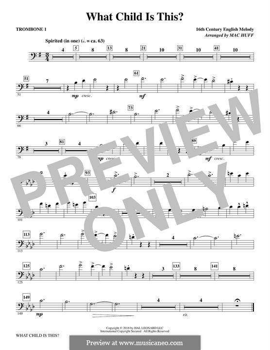 What Child is This (Christmas Carol): Trombone 1 part by folklore