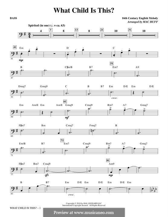What Child is This (Christmas Carol): Bass part by folklore