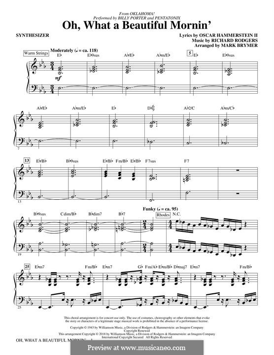 Oh, What a Beautiful Mornin' (from 'Oklahoma!'): Synthesizer part by Richard Rodgers