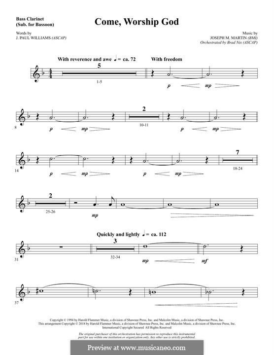 Come, Worship God: Bass Clarinet (sub. Bassoon) part by Joseph M. Martin