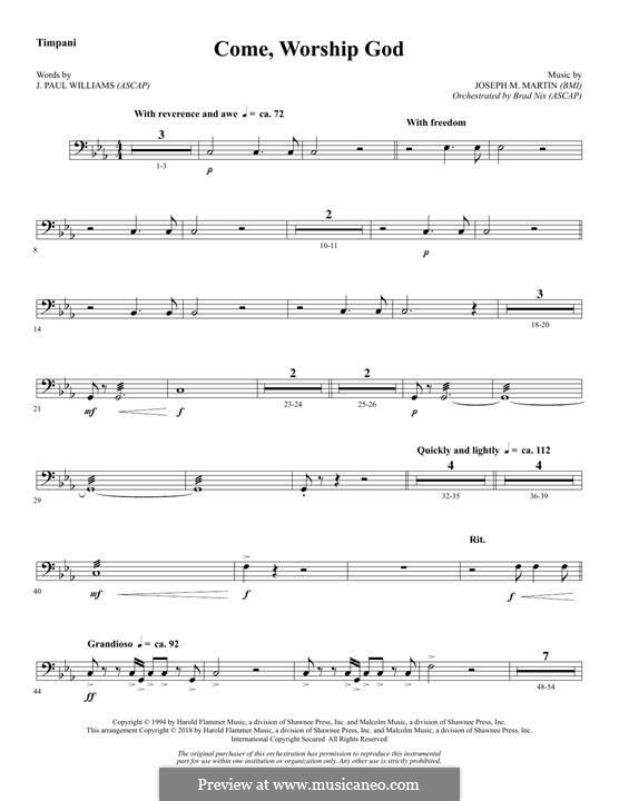 Come, Worship God: Timpani part by Joseph M. Martin