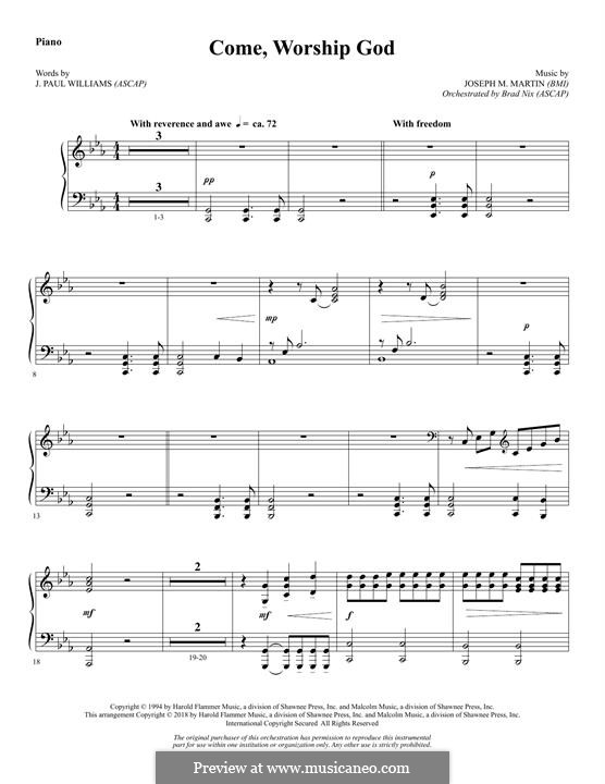 Come, Worship God: Piano part by Joseph M. Martin