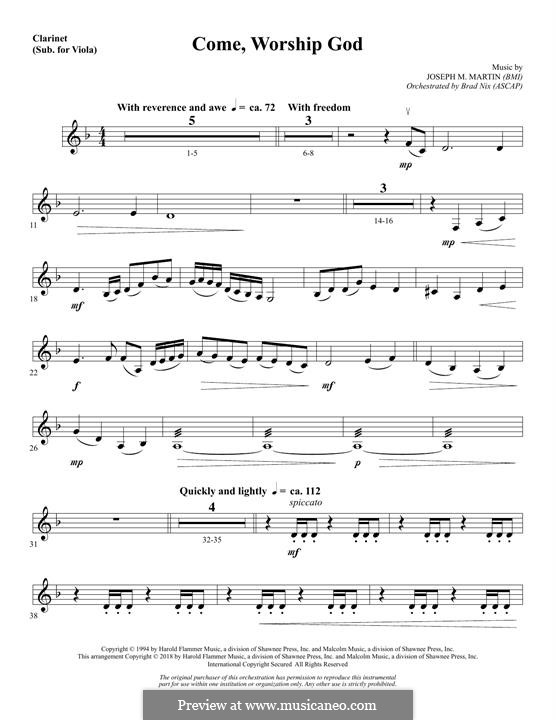 Come, Worship God: Clarinet (sub Viola) part by Joseph M. Martin