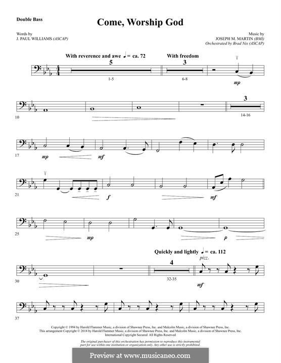 Come, Worship God: Double Bass part by Joseph M. Martin