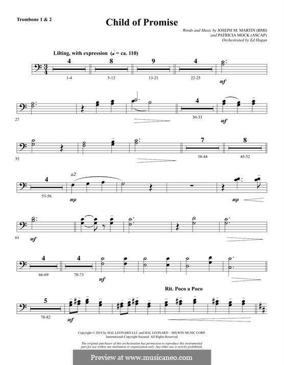 Child of Promise: Trombone 1 & 2 part by Joseph M. Martin, Patricia Mock