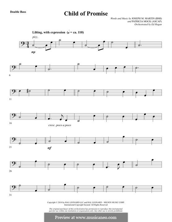 Child of Promise: Double Bass part by Joseph M. Martin, Patricia Mock
