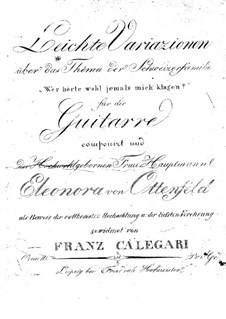 Easy Variations on Theme from 'Die Schweizer Famillie' by Weigl, Op.10: For guitar by Francesco Calegari