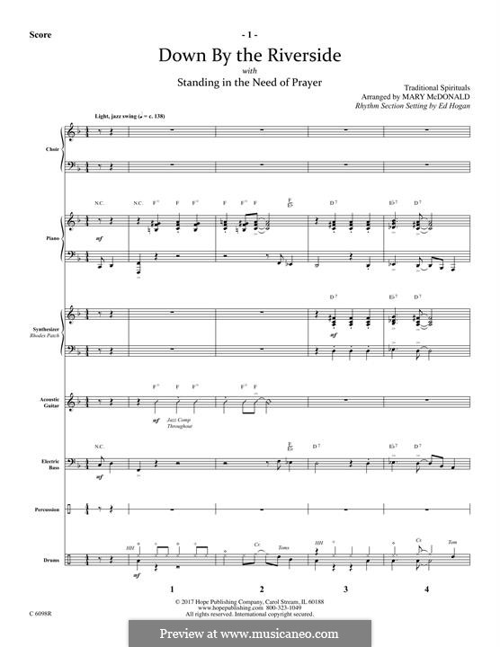 Down By the Riverside: For winds – Full Score by folklore
