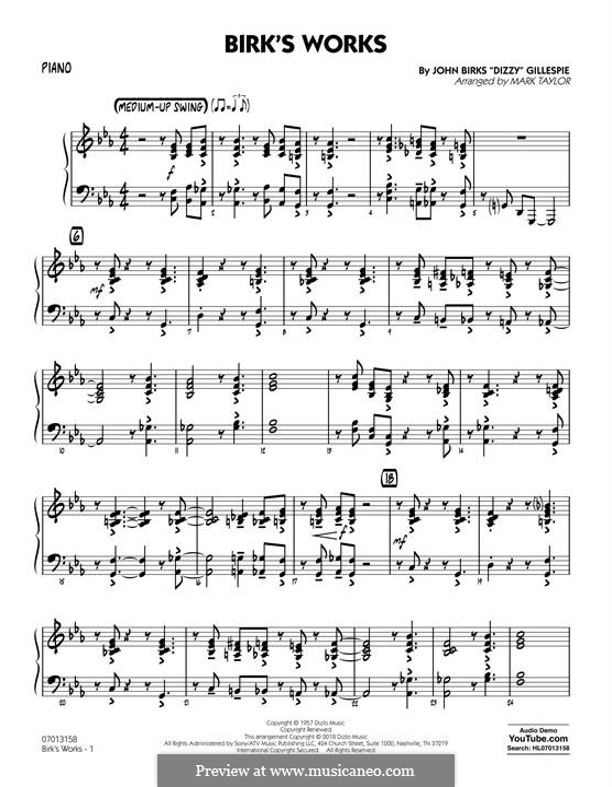 Birk's Works: Piano part by Dizzy Gillespie