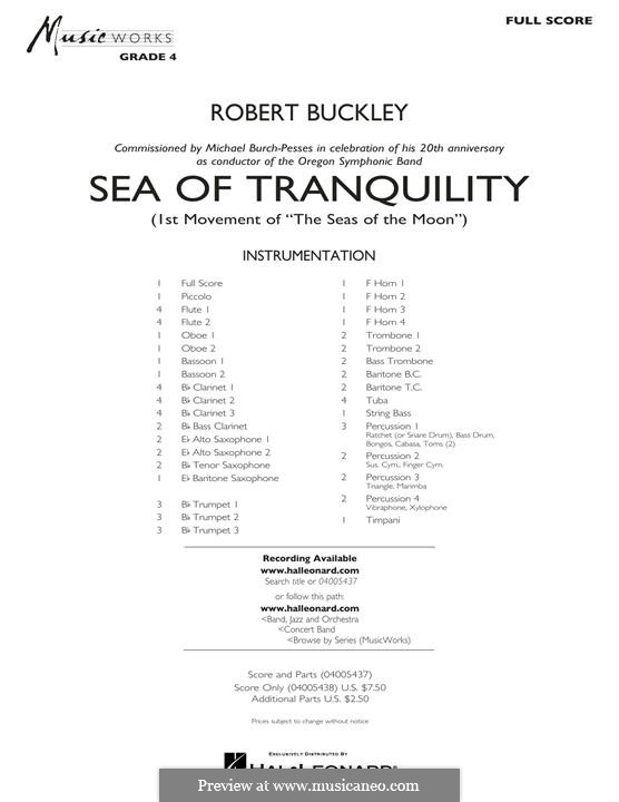 Sea of Tranquility: Full Score by Robert Buckley