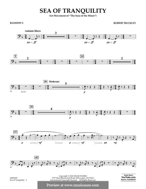 Sea of Tranquility: Bassoon 2 part by Robert Buckley