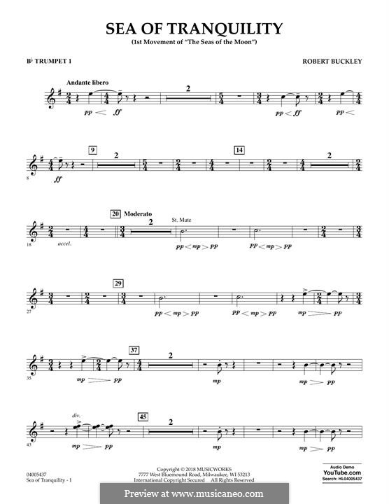 Sea of Tranquility: Bb Trumpet 1 part by Robert Buckley