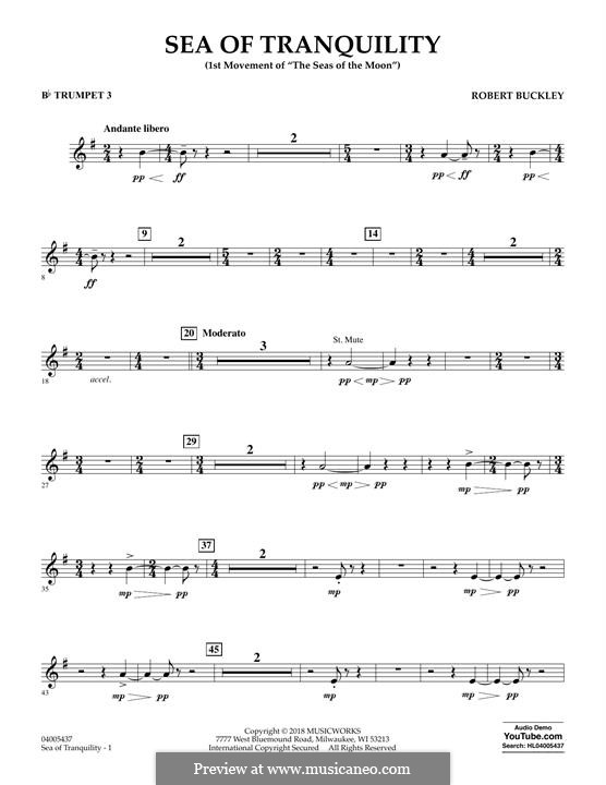 Sea of Tranquility: Bb Trumpet 3 part by Robert Buckley
