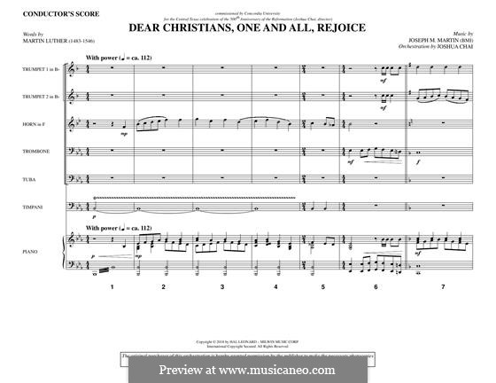 Dear Christians, One and All, Rejoice: Score by Joseph M. Martin