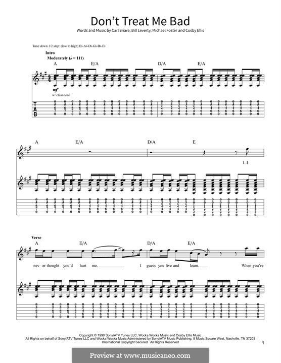 Don't Treat Me Bad (Firehouse): For guitar by Bill Leverty, Carl Snare, Cosby Ellis, Michael Foster