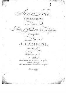 Six Concert Trios for Flute, Oboe and Bassoon, Op.45: Flute part by Giuseppe Maria Cambini