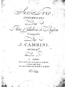 Six Concert Trios for Flute, Oboe and Bassoon, Op.45: Bassoon part by Giuseppe Maria Cambini