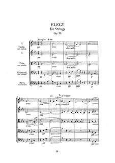 Elegy for String Orchestra, Op.58: Full score by Edward Elgar