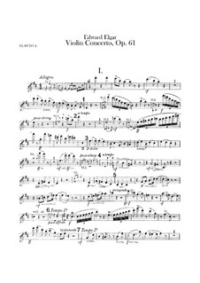 Concerto for Violin and Orchestra, Op.61: Flutes parts by Edward Elgar