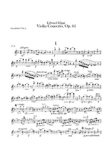 Concerto for Violin and Orchestra, Op.61: Clarinets parts by Edward Elgar