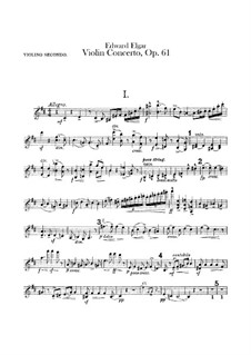 Concerto for Violin and Orchestra, Op.61: Violin II part by Edward Elgar
