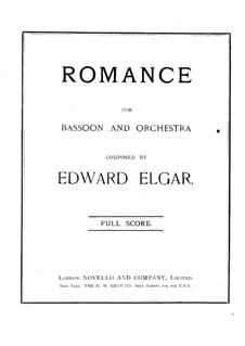 Romance for Bassoon and Piano, Op.62: Full score by Edward Elgar