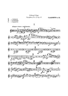 Symphony No.2 in E Flat Major, Op.63: Clarinet in Es part by Edward Elgar