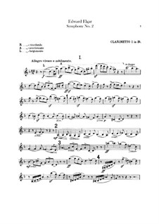 Symphony No.2 in E Flat Major, Op.63: Clarinets parts by Edward Elgar