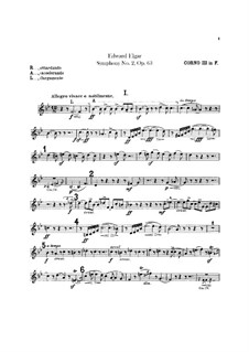 Symphony No.2 in E Flat Major, Op.63: French horns III-IV parts by Edward Elgar