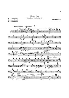 Symphony No.2 in E Flat Major, Op.63: Trombones and tuba parts by Edward Elgar