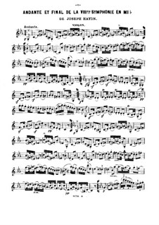 Symphony No.103 in E Flat Major 'Drum Roll', Hob.I/103: Movements II and IV, for violin, cello and piano – violin part by Joseph Haydn