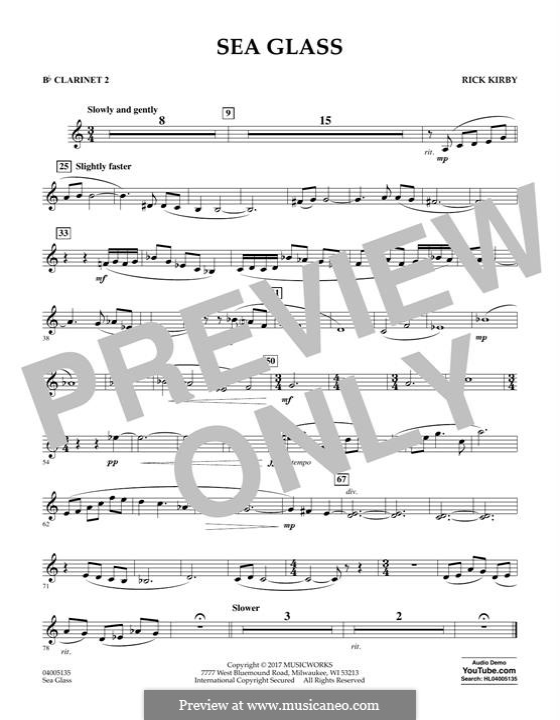 Sea Glass: Bb Clarinet 2 part by Rick Kirby