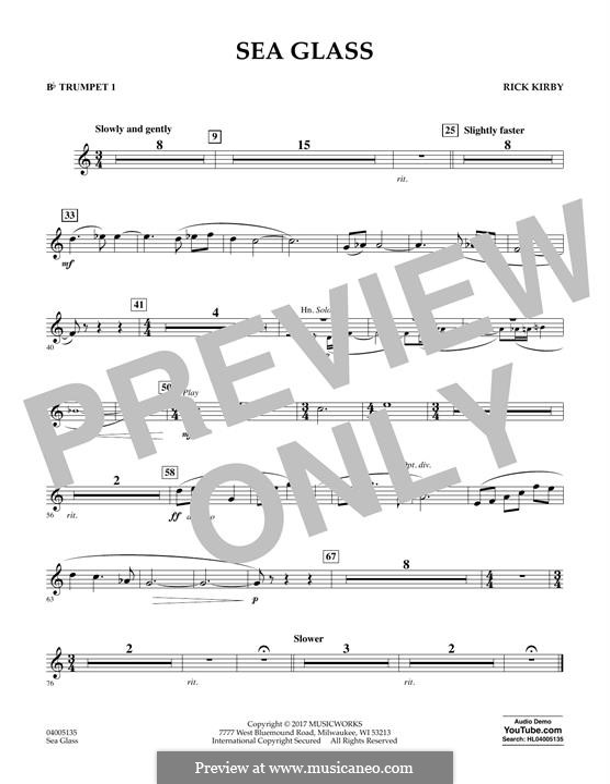 Sea Glass: Bb Trumpet 1 part by Rick Kirby