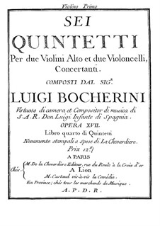 Six Quintets for Strings, G.283-288 Op.18: Violin I parts by Luigi Boccherini