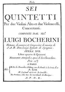 Six Quintets for Strings, G.283-288 Op.18: Viola I parts by Luigi Boccherini